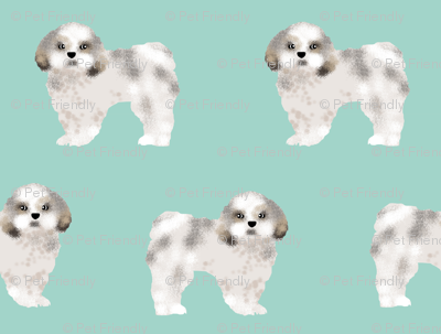 shih tzu mint cute shih tzu dog print sweet toy breed dog fabric