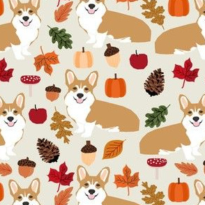 corgi autumn leaves pumpkins fall autumn leaves pinecones fall dog breed fabric