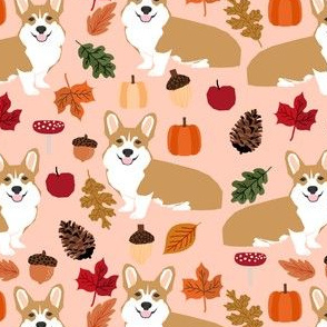 corgi autumn leaves dog dog breed fabric pumpkin pumpkins acorns autumn leaves dog breed fabric
