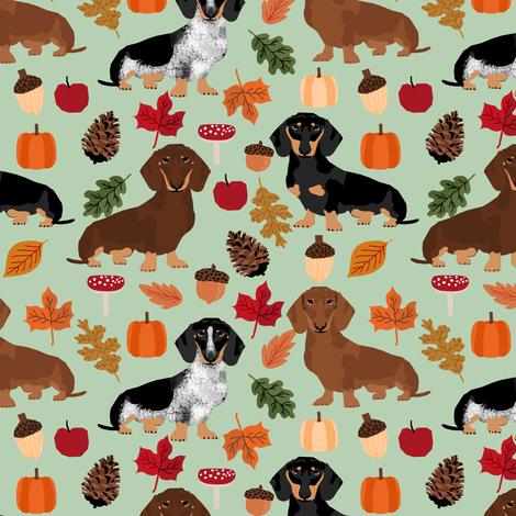 dachshunds dog doxie autumn leaves cute dogs dog design dog breed pumpkins acorns leaf fabric by petfriendly on Spoonflower - custom fabric
