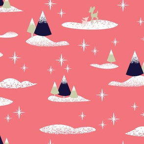 Trees and Deer in Pink