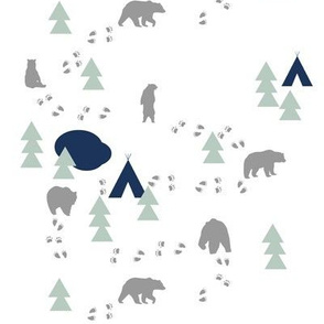 Bear Trail / navy mint and grey