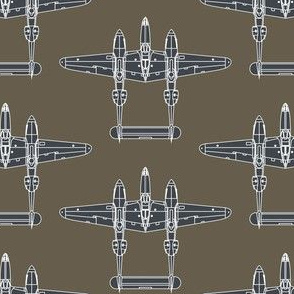 P-38 Sea Blue on Olive Drab - Large
