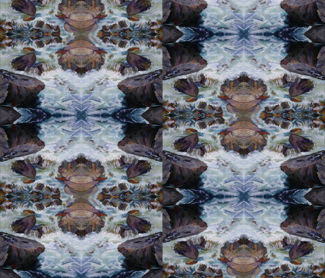 Cascades four way reflection, river rapids, turbulent water, rocky zigzag fabric by maryyx on Spoonflower - custom fabric