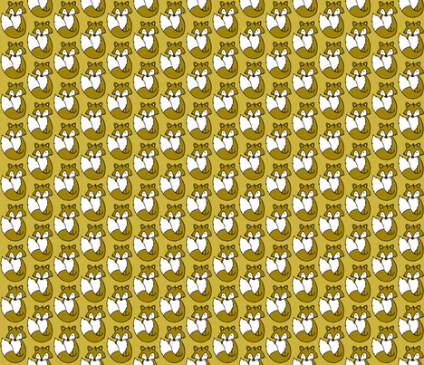 Fox // Mustard background fabric by howjoyful on Spoonflower - custom fabric