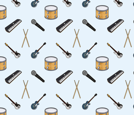 Rock band instruments fabric by quietsnooze on Spoonflower - custom fabric