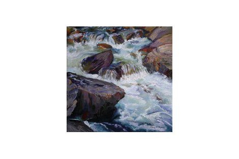 Cascades - an original oil painting - river rapids, turbulent water, whitewater, stretch and frame fabric by maryyx on Spoonflower - custom fabric