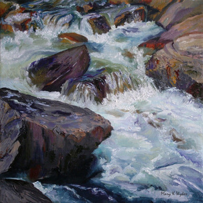 Cascades - an original oil painting - river rapids, turbulent water, whitewater, stretch and frame