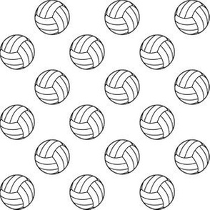 One Inch Black and White Volleyballs on White