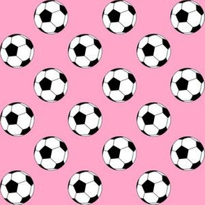 One Inch Black and White Soccer Balls on Carnation Pink