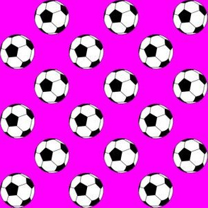 One Inch Black and White Soccer Balls on Magenta Pink