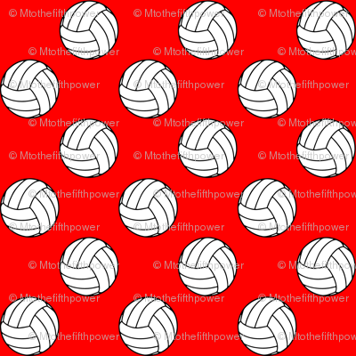 One Inch Black and White Volleyballs on Red