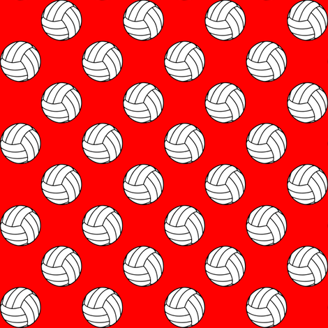 One Inch Black and White Volleyballs on Red fabric by mtothefifthpower on Spoonflower - custom fabric