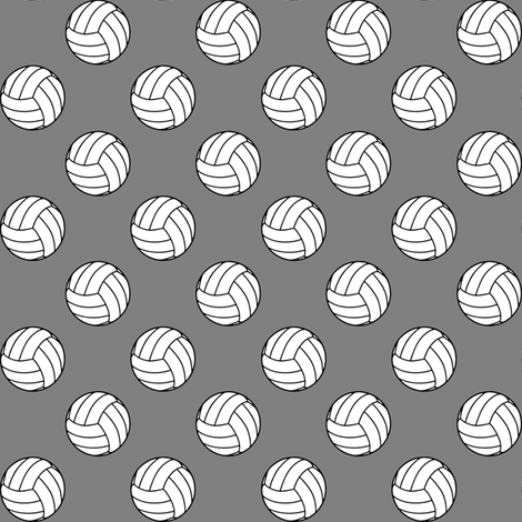 One Inch Black and White Volleyballs on Medium Gray fabric by mtothefifthpower on Spoonflower - custom fabric