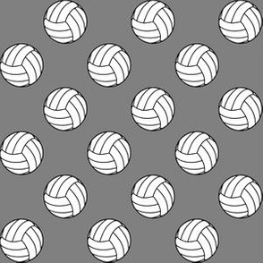 One Inch Black and White Volleyballs on Medium Gray