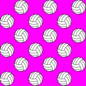 One Inch Black and White Volleyballs on Magenta Pink