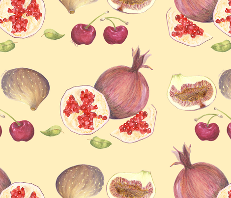 Pomegranates, Cherries and Figs fabric by fernwren on Spoonflower - custom fabric
