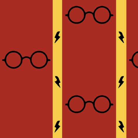 wizard's glasses - red/gold - large fabric by stofftoy on Spoonflower - custom fabric
