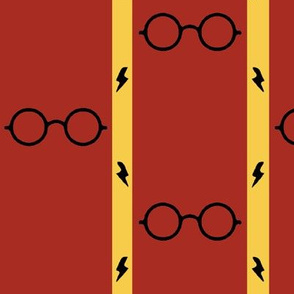 wizard's glasses - red/gold - large