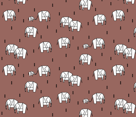 geometric elephants - potters clay burgundy ||by sunny afternoon fabric by sunny_afternoon on Spoonflower - custom fabric