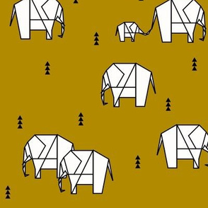 Geometric elephants - golden honey yellow mustard geo animals || by sunny afternoon