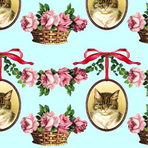 neoclassical victorian baroque rococo cats swags medallions frames baskets flowers floral roses  shabby chic romantic festoon bows ribbons tabby vintage antique
