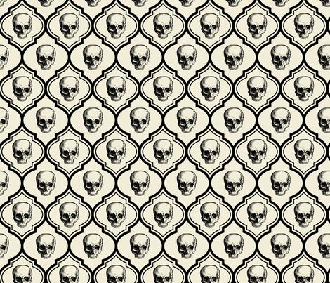 French Skulls - bone & black fabric by thecalvarium on Spoonflower - custom fabric