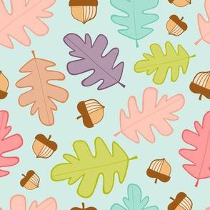 Oak Leaves & Acorns on seafoam