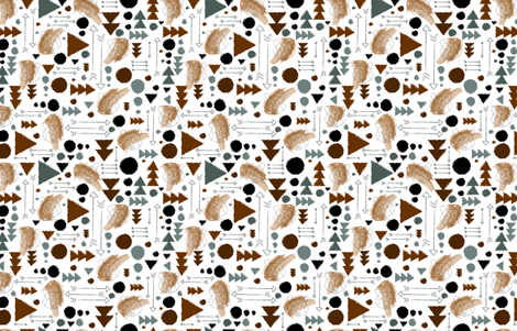 Geo Bear in Watercolour fabric by laurenjamiedesigns on Spoonflower - custom fabric