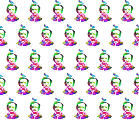 Poe Raven Rainbow Portrait fabric by 13moons_design on Spoonflower - custom fabric