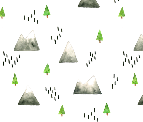 Watercolor Mountains and Trees - Larger Scale fabric by taraput on Spoonflower - custom fabric