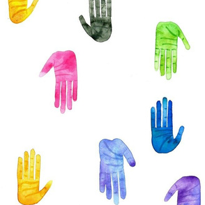 High Five - Colorful Watercolor Hands