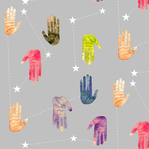Colorful Watercolor Hands and Stars - Larger Scale