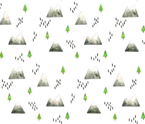 Watercolor Mountains and Trees - Smaller Scale fabric by taraput on Spoonflower - custom fabric