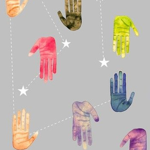 Colorful Watercolor Hands and Stars - Smaller Scale