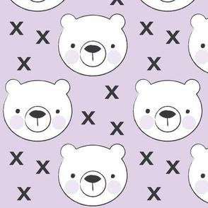 polar bear faces on purple