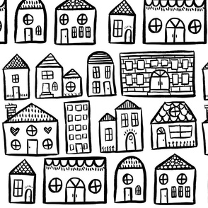 Black and White Houses - Larger Scale