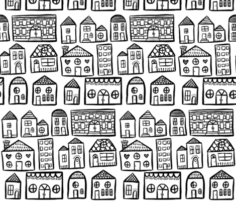 Black and White Houses - Smaller Scale fabric by taraput on Spoonflower - custom fabric