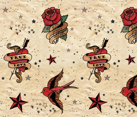 sailor jerry watercolor vintage fabric unicornusrex spoonflower