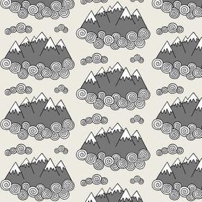 Mountains // Cream background