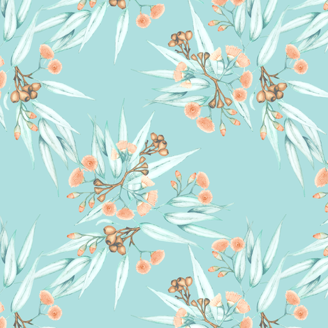 Eucalyptus Washed Peach and Eucalypt Blue fabric by thistleandfox on Spoonflower - custom fabric