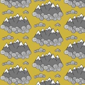 Mountains // Mustard background
