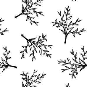 Tiled Branches - White