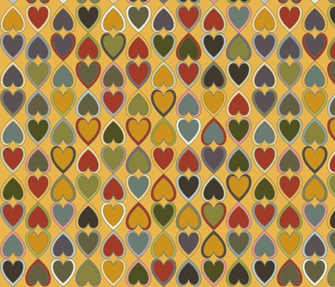 October - Double Hearts on Gold fabric by coloursoffrance on Spoonflower - custom fabric