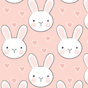 bunny faces on vintage pink