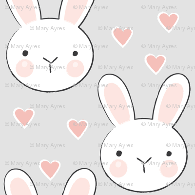 bunny faces on grey