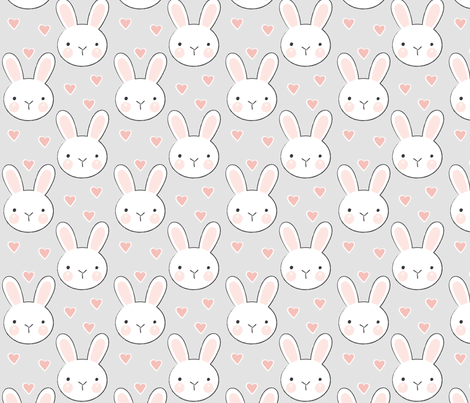 bunny faces on grey fabric by lilcubby on Spoonflower - custom fabric