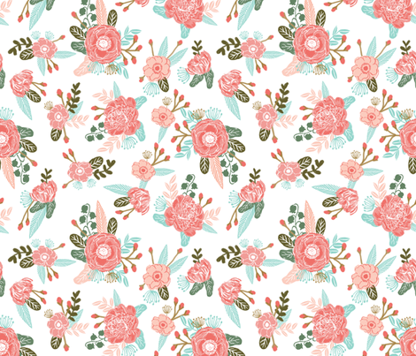 florals blooms sprigs bloom blossoms painted flower floral fabric coral blush mint cute girls room fabrics girls room quilt  fabric by charlottewinter on Spoonflower - custom fabric