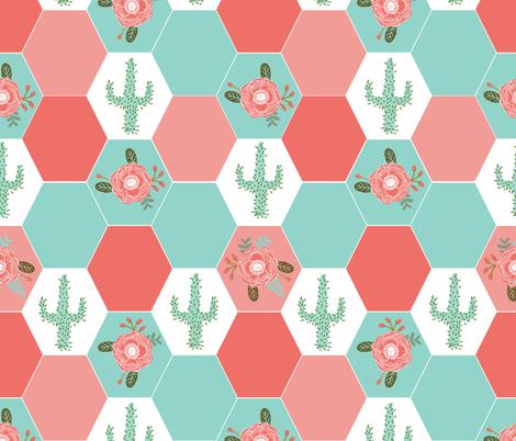 Hexagon Cheater Quilt Cactus Blanket Cactus Quilt Cute Hexies