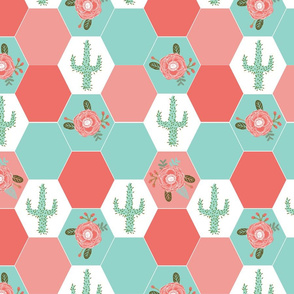 hexagon cheater quilt cactus blanket cactus quilt cute hexies patchwork blanket cheater hexagon blanket coral mint blush cactus florals